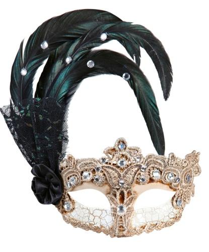 Маскарадная маска бежевая , полиэстер, перья, стразы (Италия)