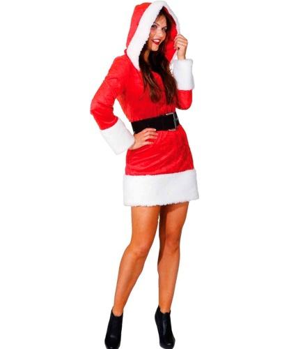 Новогодний костюм Санты с капюшоном: платье с капюшоном, пояс (Германия)