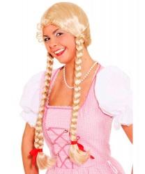 Парик блондинки с двумя косами