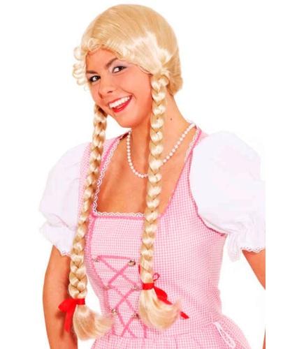 Парик блондинки с двумя косами: пепельный, белый (Германия)