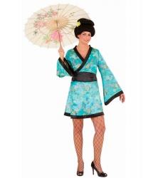 Сексуальное бирюзовое кимоно