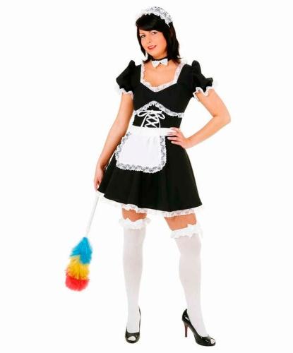 Черное платье для горничной: платье, передник, повязка на шею, головной убор (Германия)