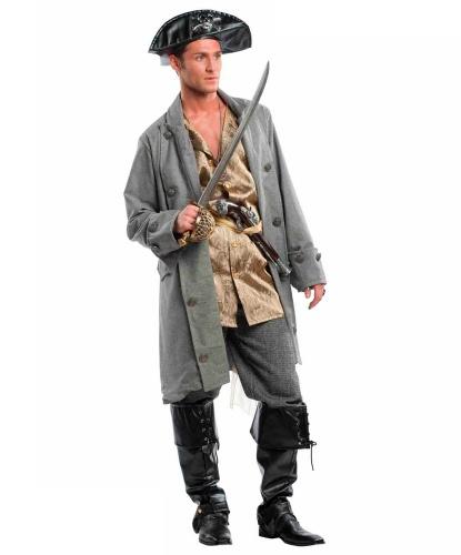 Серый мужской костюм пирата: бриджи, жилетка, накладки на обувь, пояс, сюртук, шляпа (Италия)