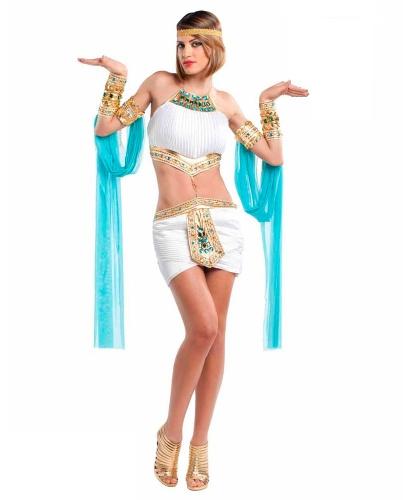 Взрослый костюм Клеопатра: нарукавники, парик, топик, украшение на голову, юбка (Италия)