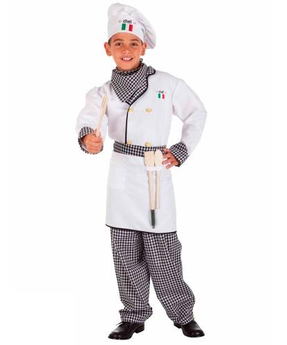 Костюм повара для мальчика: колпак, платок на шею, рубашка, фартук, штаны (Италия)