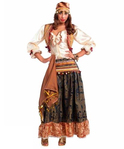 Взрослый костюм цыганки: головной убор, жилетка, платок, рубашка, юбка (Италия)