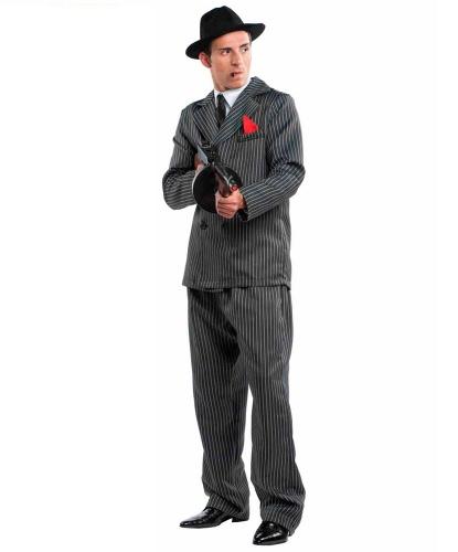 Костюм гангстера: брюки, галстук, пиджак, рубашка, шляпа (Италия)