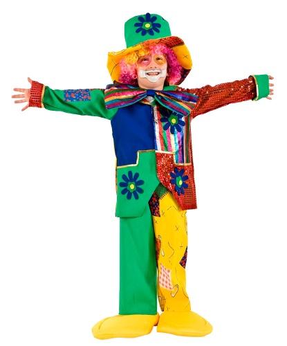 Детский костюм клоуна: бабочка, головной убор, накладки на туфли, нос, парик, пиджак, штаны (Италия)