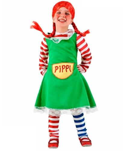 Костюм Пеппи-Длинный чулок: носки, парик, платье, подъюбник, рубашка (Италия)