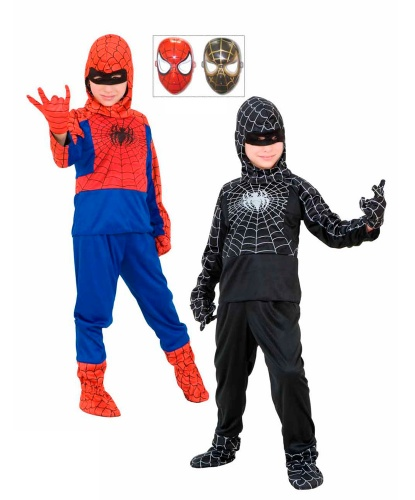 Костюм Спайдермена двойной: капюшон с маской, кофта, перчатки, штаны (Италия)