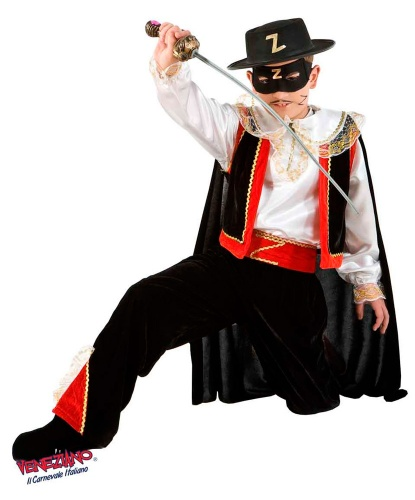 Костюм Зорро для мальчика: брюки, жилетка, накидка, накладки на туфли, пояс, рубашка, шляпа (Италия)