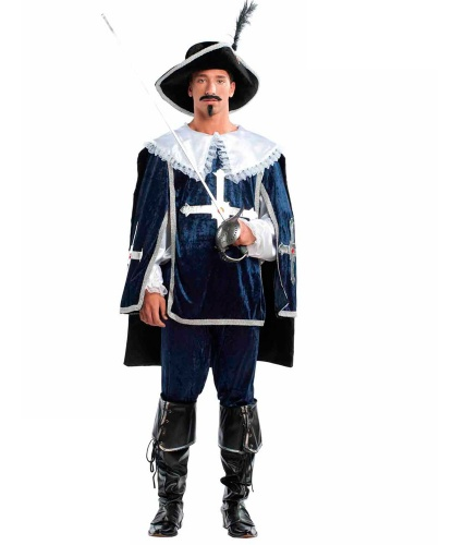 Костюм Д'Артаньян: накидка, накладки на обувь, рубашка, шляпа, штаны (Италия)
