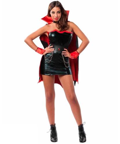 Эротический костюм вампирши: накидка, накладки на обувь, нарукавники, платье, пояс, украшение на шею (Италия)
