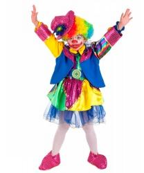 Костюм клоунессы детский: головной убор, накладки на туфли, парик, пиджак, платье, пояс (Италия)