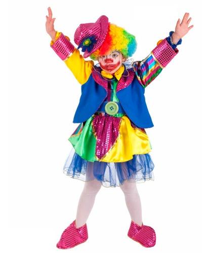 Костюм клоунессы детский: головной убор, парик накладки на туфли, пиджак, платье, пояс (Италия)