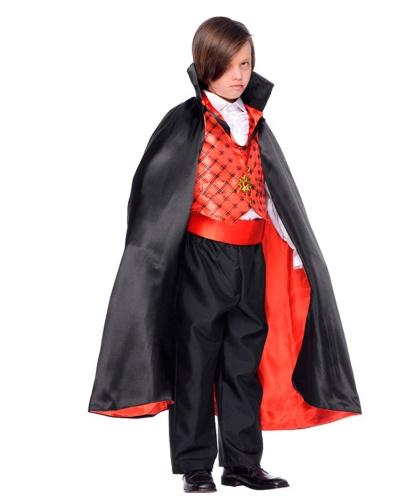 Костюм вампира: жилетка, накидка, пояс, рубашка, украшение на шею, штаны, зубы (Италия)
