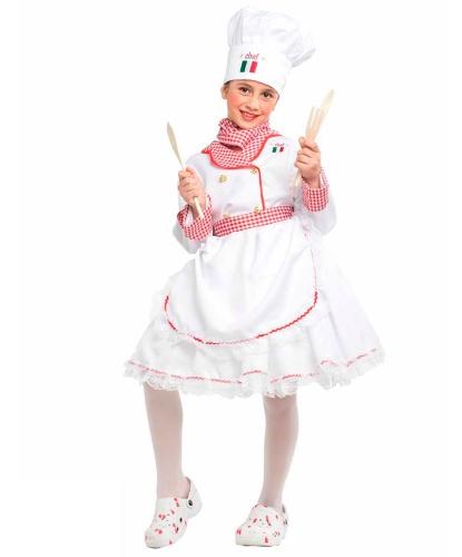 Костюм девочки-поваренка: колпак, передник, платок на шею, платье (Италия)