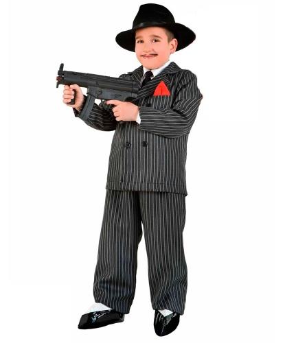 Детский костюм гангстера (мафиози): брюки, галстук, накладки на обувь, шляпа, автомат, пиджак, рубашка (Италия)