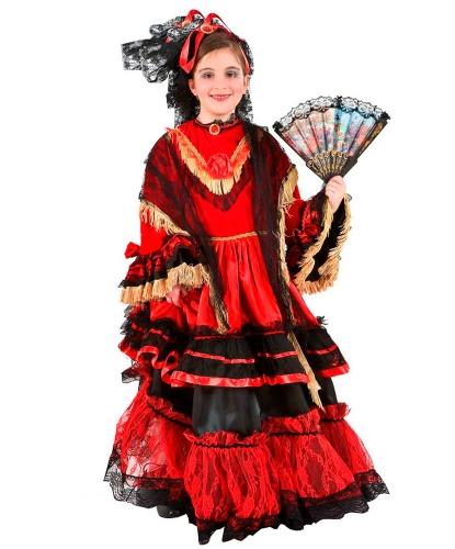 Испанский наряд для девочки: головной убор, платок, платье (Италия)
