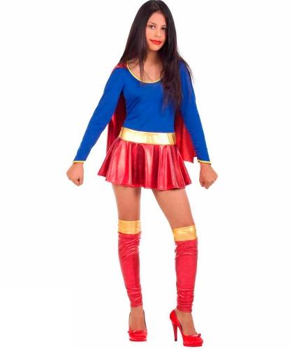 Подростковый костюм Supergirl : гетры, накидка, платье (Италия)