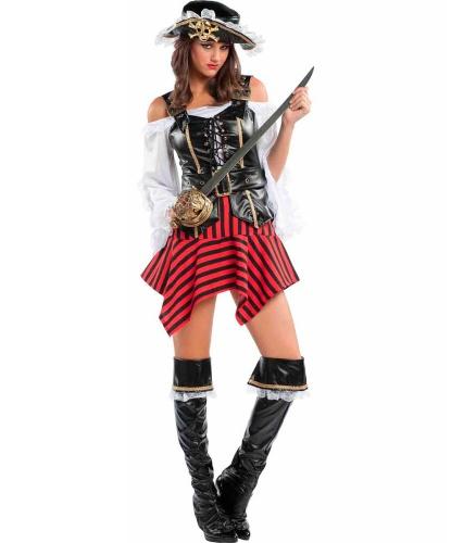 Карибская пиратка: корсет, накладки на туфли, пояс, рубашка, шляпа, юбка (Италия)