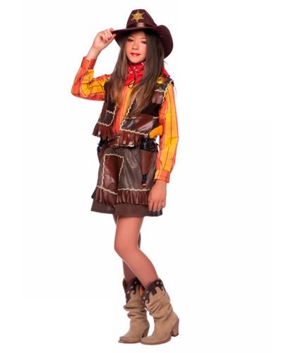 Детский костюм Ковбой для девочки: жилетка, накладки на обувь, платок на шею, пояс, рубашка, юбка (Италия)