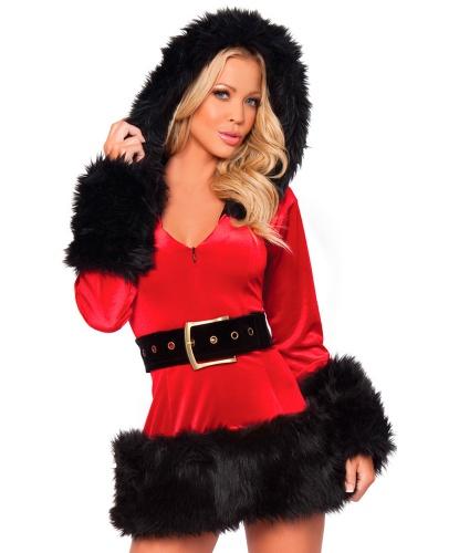 Красный с черным новогодний костюм Санты: капюшон, платье (Китай)