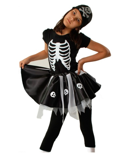 Костюм скелета для девочки: футболка, юбка, бандана (Польша)