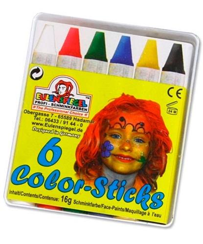 Набор грима, 6 карандашей по 5.5 см: черный, белый, синий, красный, зеленый, желтый (Германия)