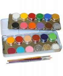 Набор профессионального аквагрима 21 цвет, 3 кисти
