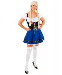Синее баварское платье
