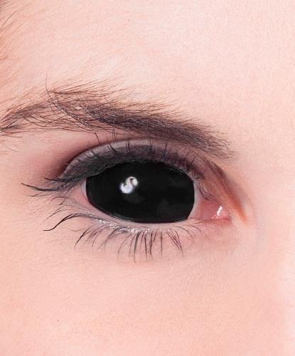 Черные линзы на весь глаз, без диоптрий, срок ношения 90 дней (Великобритания)