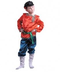 Костюм русский Ванюшка: рубаха с поясом, шаровары с портянками, картуз (Россия)