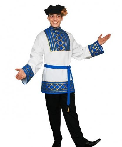 Русский народный костюм Ярослав: рубашка, пояс, брюки, картуз (Россия)