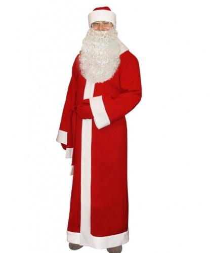 Красный новогодний костюм Деда Мороза: шуба, кушак, шапка, рукавицы (Россия)