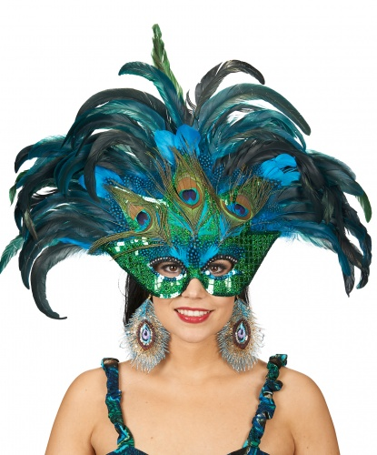 Карнавальная маска с перьями, полиэстер, перья (Германия)