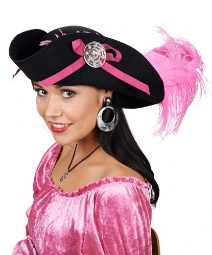 Черная пиратская шляпа с розовым пером (Германия)
