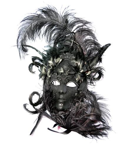 Венецианская маска Dama di Venezia черная, перья, папье-маше (Италия)