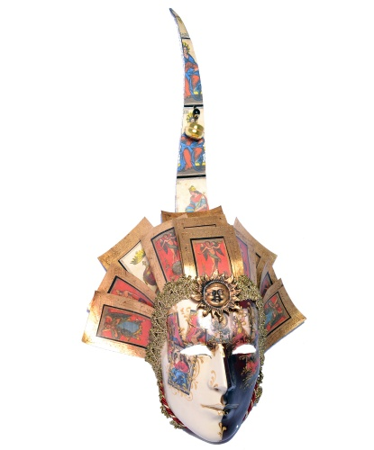 Венецианская маска джокера, перья, папье-маше (Италия)