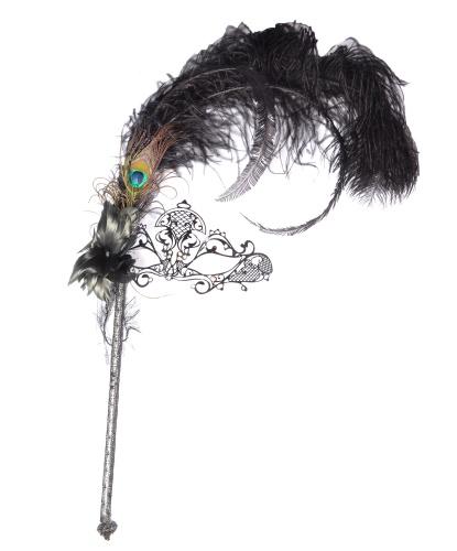 Венецианская маска на палочке, металл, стразы (Италия)