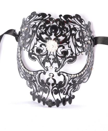 Венецианская маска черный череп, металл, стразы (Италия)