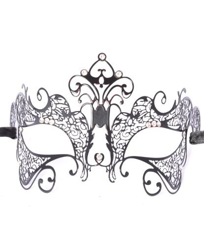 Венецианская маска Giglio черная, металл (Италия)