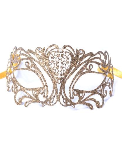 Золотая маска с блестками Maschile, металл, блестки (Италия)