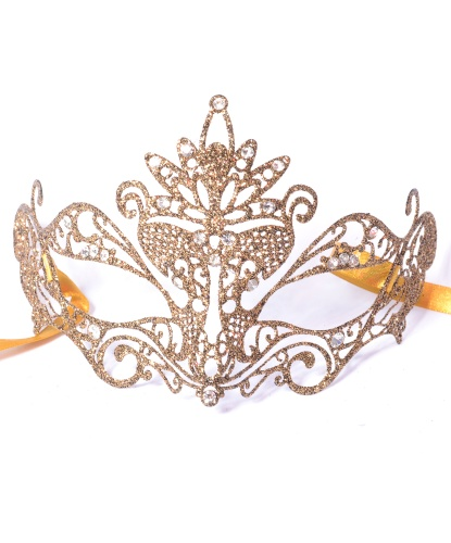 Золотая маска с блестками Pavone, металл, блестки (Италия)