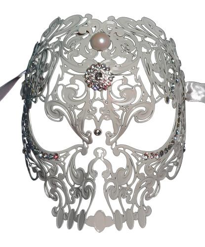 Венецианская маска белый череп, металл, стразы (Италия)