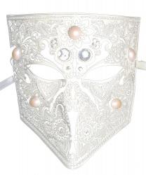 Маска венецианская белая на все лицо, металл (Италия)