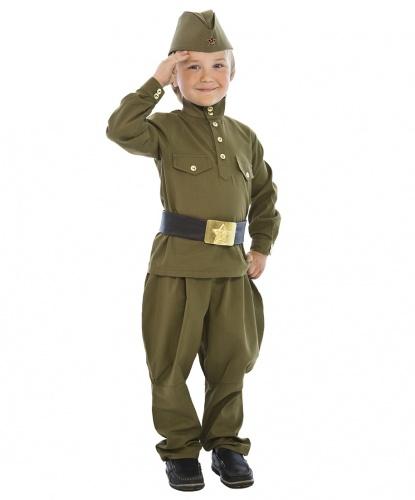 Костюм солдата ВОВ: гимнастерка, брюки, пилотка, пояс (Россия)