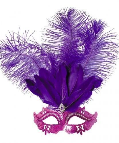 Фиолетовая карнавальная маска , пластик, перья (Польша)