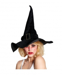 Черный колпак ведьмы с пряжкой