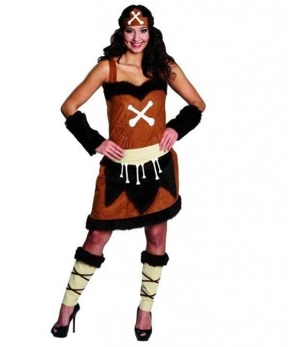 Костюм пещерной женщины: платье, нарукавники, гамаши, пояс (Германия)